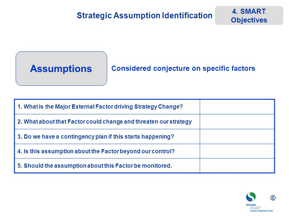 © Strategic Assumption Identification 1. What is the Major External Factor driving Strategy Change? 2. What about that Factor could change and threate