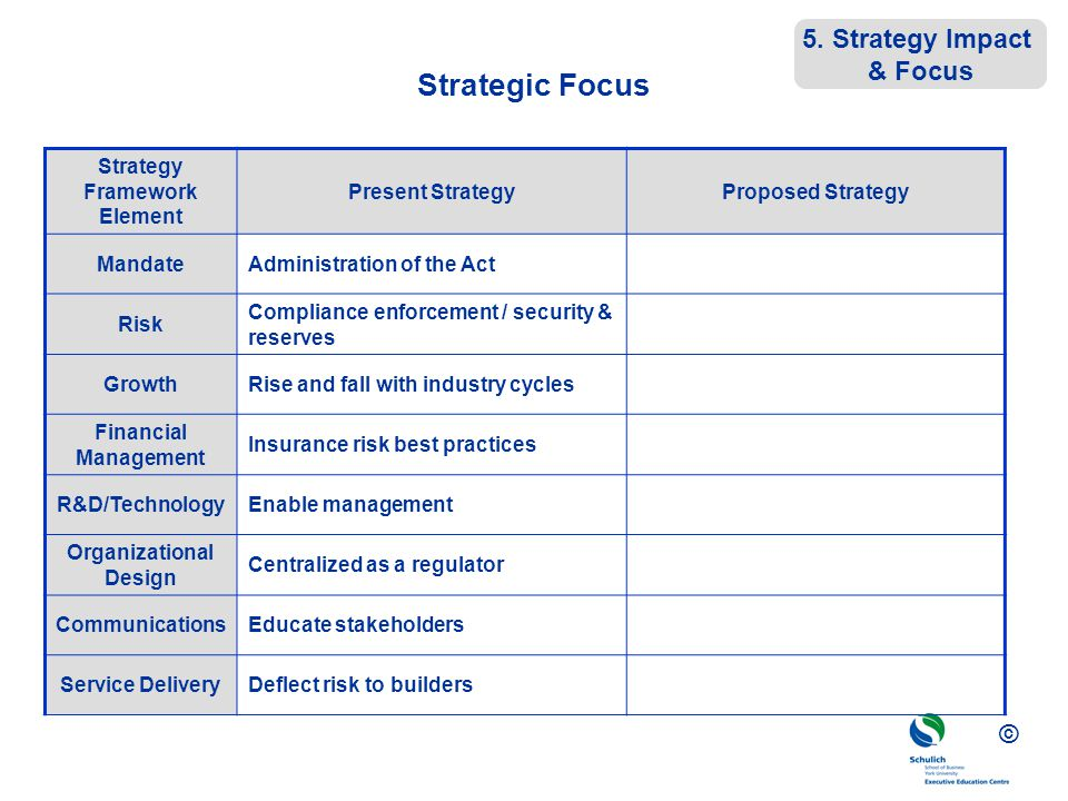 © Strategic Focus Strategy Framework Element Present StrategyProposed Strategy MandateAdministration of the Act Risk Compliance enforcement / security