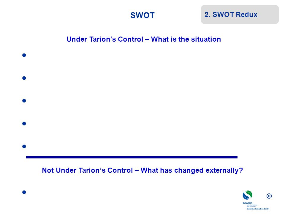 © SWOT Under Tarion's Control – What is the situation Not Under Tarion's Control – What has changed externally? 2. SWOT Redux