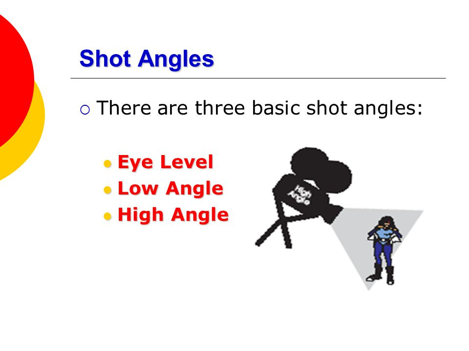 Shot Angles  There are three basic shot angles: Eye Level Eye Level Low Angle Low Angle High Angle High Angle