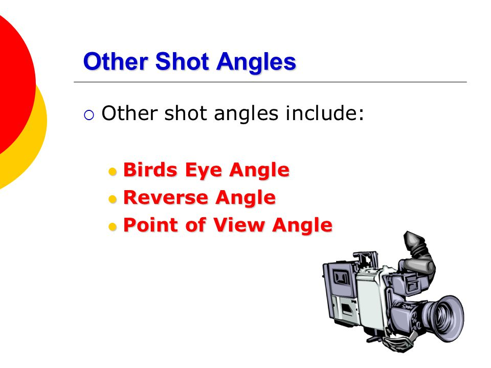 Other Shot Angles  Other shot angles include: Birds Eye Angle Birds Eye Angle Reverse Angle Reverse Angle Point of View Angle Point of View Angle