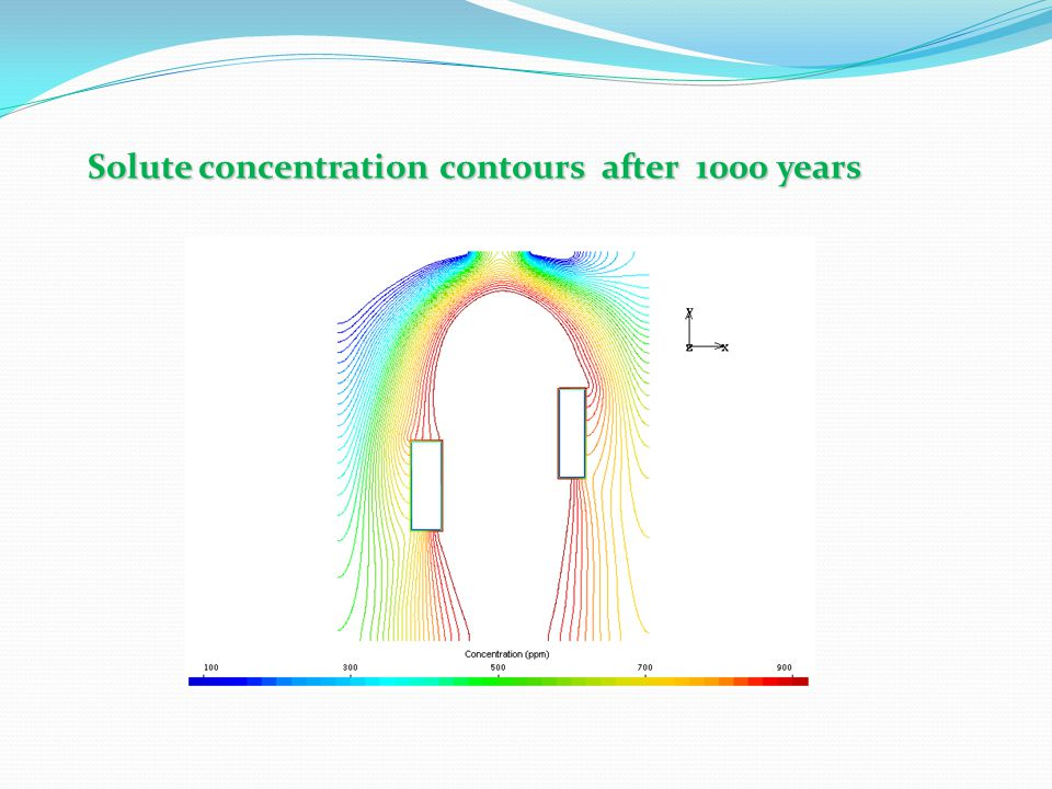 Solute concentration contours after 1000 years