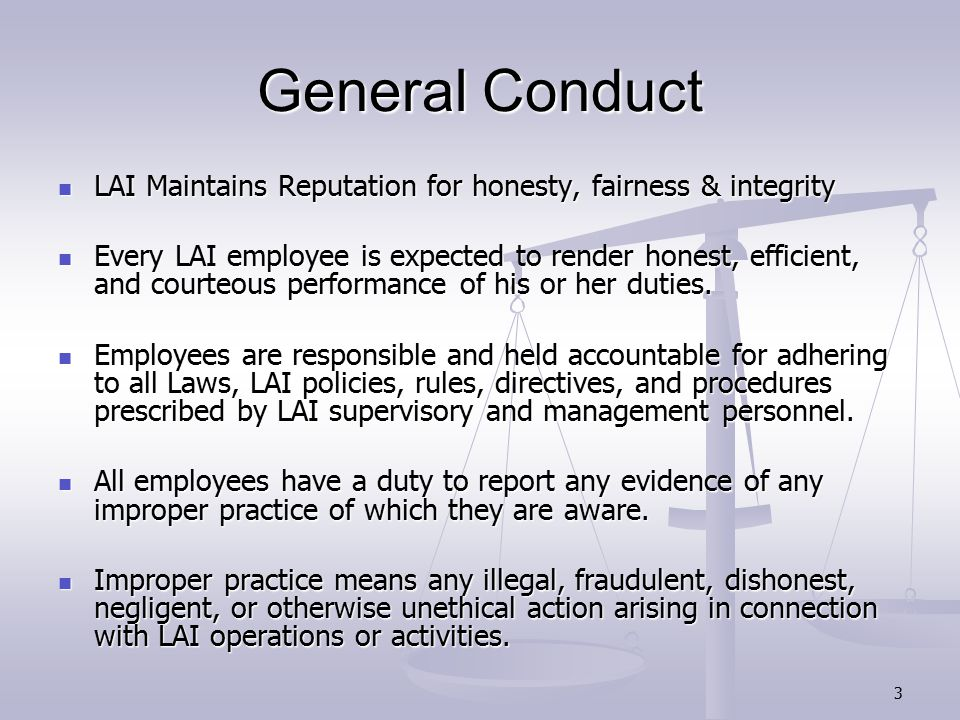 4 Main Focus Working at a Government Site Working at a Government Site Security & Confidentiality Security & Confidentiality Personal Appearance Standards Personal Appearance Standards Off Duty Conduct & Employment Off Duty Conduct & Employment Compliance with Laws Compliance with Laws
