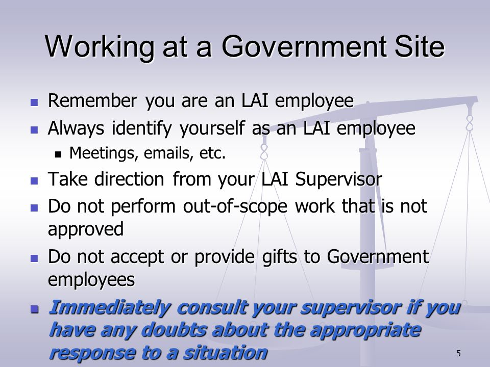 16 Workplace Harassment LAI's responsibility to ensure an employee's right to work in an environment free of all forms of discriminatory harassment.