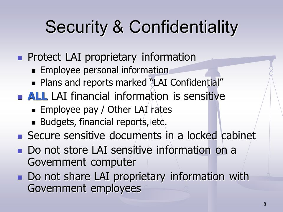 9 Use of LAI/Government Property Business Purposes Only; no personal use Business Purposes Only; no personal use Includes Includes Computers Computers Equipment Equipment Cell Phones Cell Phones Vehicles Vehicles Badge (Misuse) Badge (Misuse) Supplies Supplies