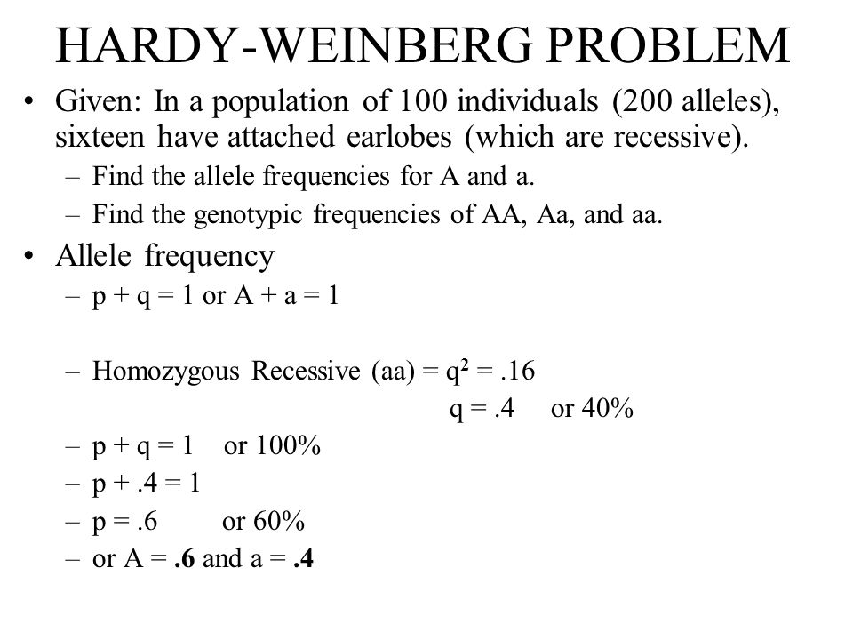 HARDY - WEINBERG PROBLEM Genotypic frequencies –If: p =.6 and q =.4, then p 2 = (.6)(.6) =.36 q 2 = (.4)(.4) =.16 2pq = 2(.6)(.4) =.48 Therefore, in the population: –Homozygous dominant = 36/100 or 36% –Heterozygous dominant = 48/100 or 48% –Recessive = 16/100 or 16%