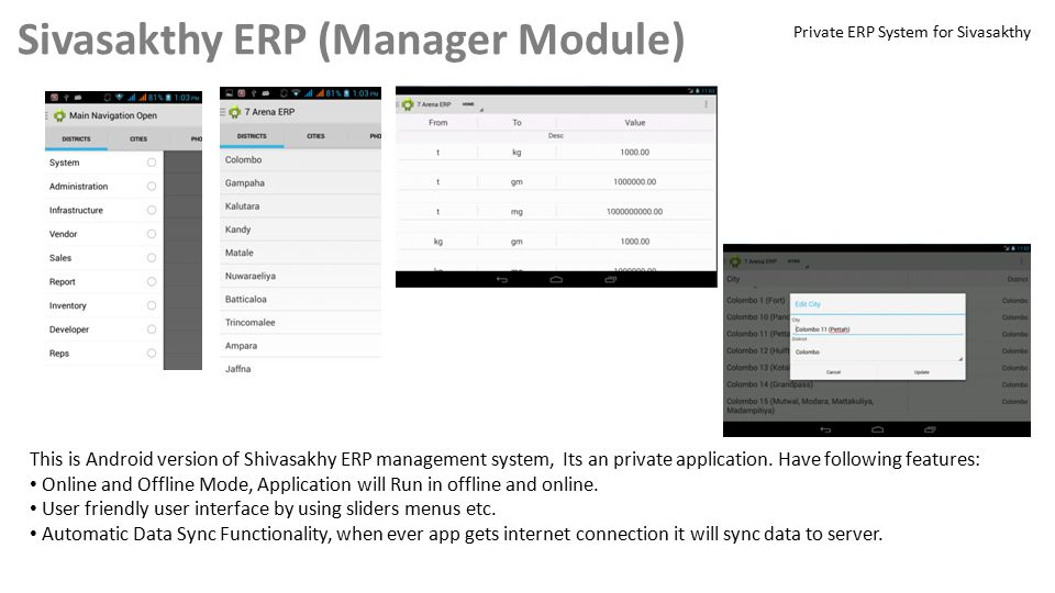 Sivasakthy ERP (Manager Module) This is Android version of Shivasakhy ERP management system, Its an private application.