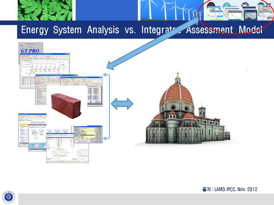 Energy System Analysis vs. Integrated Assessment Model 출처 : LAM3, IPCC, Nov. 2012 27