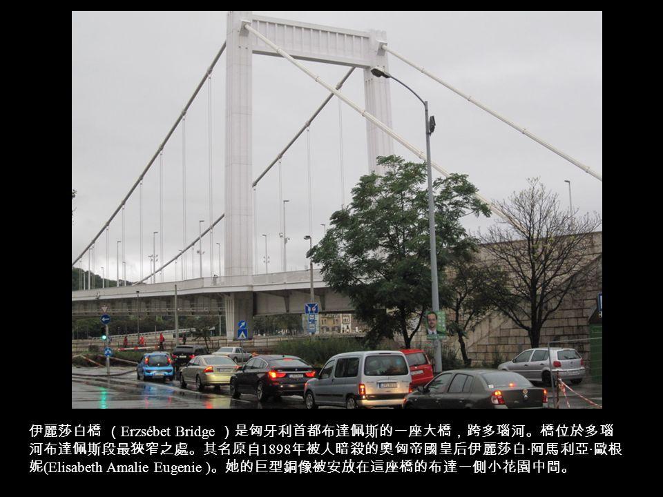 伊麗莎白橋 ( Erzsébet Bridge )是匈牙利首都布達佩斯的一座大橋,跨多瑙河。橋位於多瑙 河布達佩斯段最狹窄之處。其名原自 1898 年被人暗殺的奧匈帝國皇后伊麗莎白 · 阿馬利亞 · 歐根 妮 (Elisabeth Amalie Eugenie ) 。她的巨型銅像被安放在這座橋的布達一側小花園中間。
