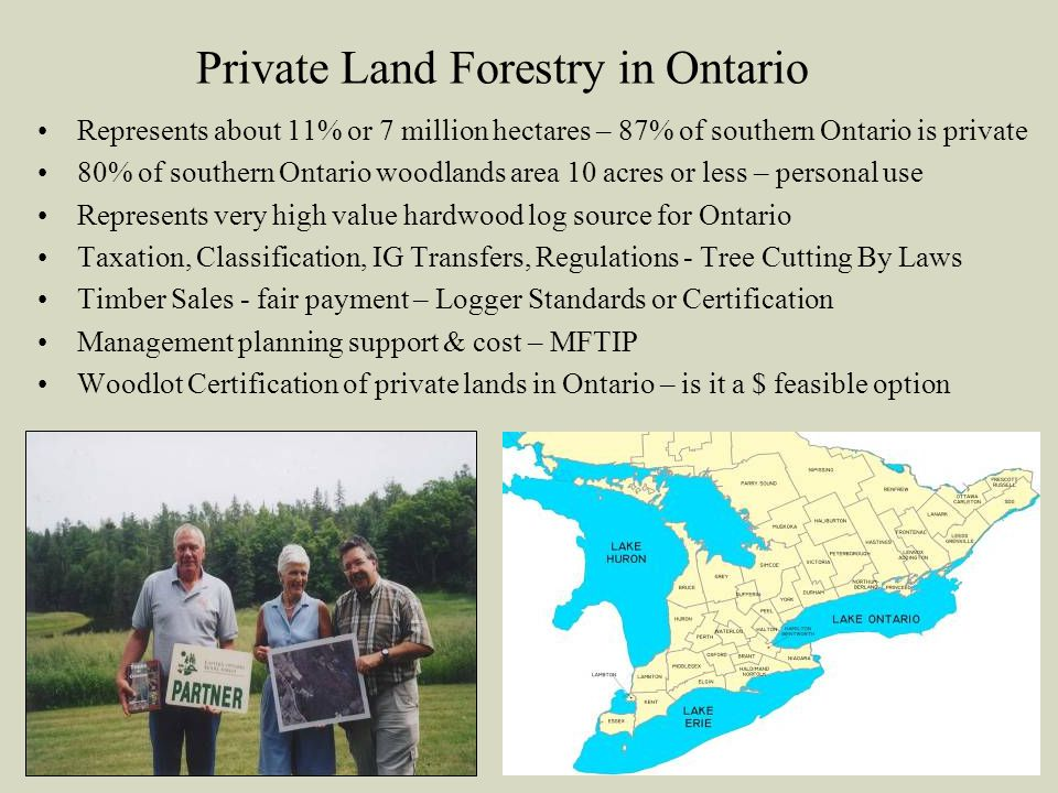 Private Land Forestry in Ontario Represents about 11% or 7 million hectares – 87% of southern Ontario is private 80% of southern Ontario woodlands area 10 acres or less – personal use Represents very high value hardwood log source for Ontario Taxation, Classification, IG Transfers, Regulations - Tree Cutting By Laws Timber Sales - fair payment – Logger Standards or Certification Management planning support & cost – MFTIP Woodlot Certification of private lands in Ontario – is it a $ feasible option