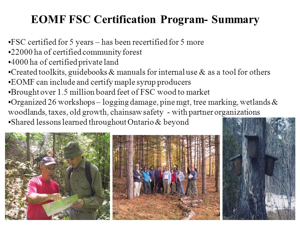EOMF FSC Certification Program- Summary FSC certified for 5 years – has been recertified for 5 more 22000 ha of certified community forest 4000 ha of