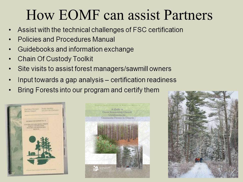 How EOMF can assist Partners Assist with the technical challenges of FSC certification Policies and Procedures Manual Guidebooks and information exchange Chain Of Custody Toolkit Site visits to assist forest managers/sawmill owners Input towards a gap analysis – certification readiness Bring Forests into our program and certify them