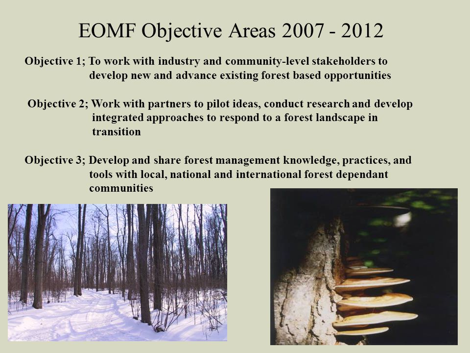 EOMF Objective Areas 2007 - 2012 Objective 1; To work with industry and community-level stakeholders to develop new and advance existing forest based opportunities Objective 2; Work with partners to pilot ideas, conduct research and develop integrated approaches to respond to a forest landscape in transition Objective 3; Develop and share forest management knowledge, practices, and tools with local, national and international forest dependant communities