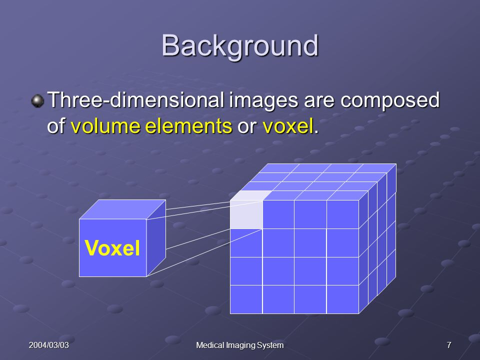 72004/03/03Medical Imaging System Background Three-dimensional images are composed of volume elements or voxel.
