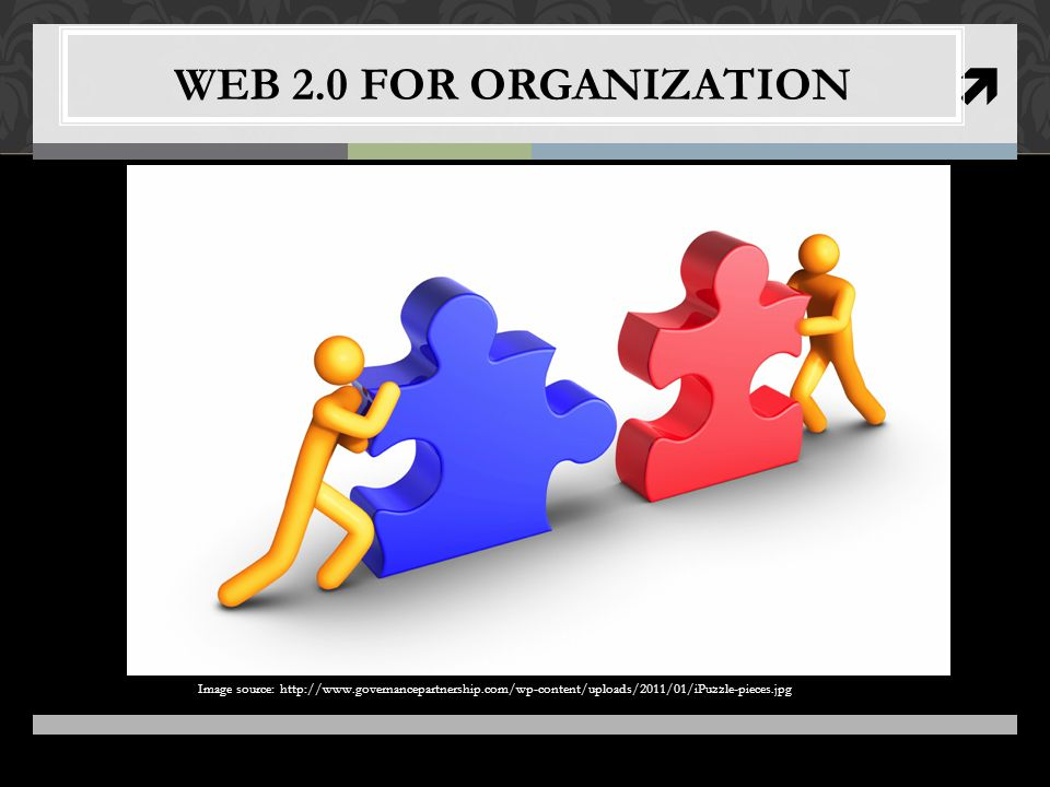  WEB 2.0 FOR ORGANIZATION Image source: http://www.governancepartnership.com/wp-content/uploads/2011/01/iPuzzle-pieces.jpg