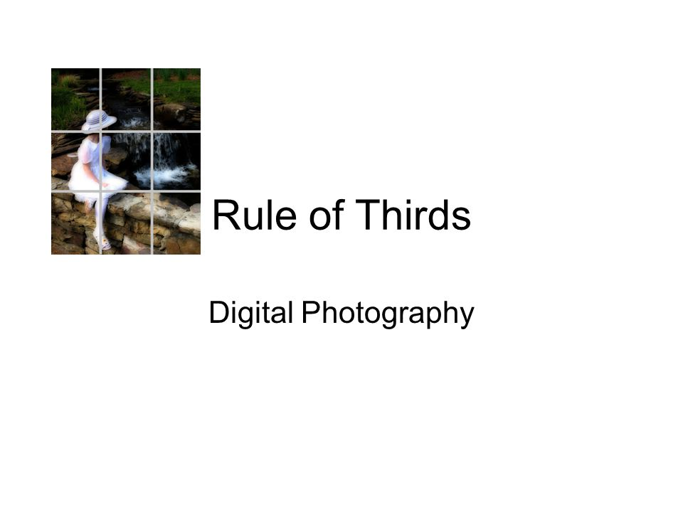 Rule of Thirds Explains what part of an image the human eye is most strongly drawn towards first.