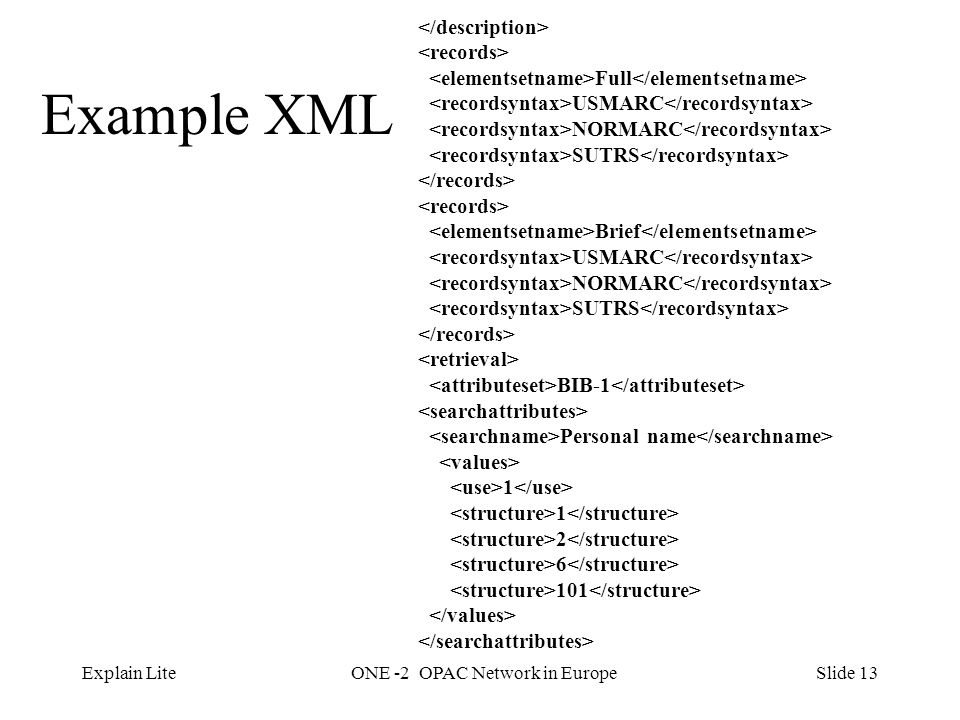 Slide 13Explain LiteONE -2 OPAC Network in Europe Example XML Full USMARC NORMARC SUTRS Brief USMARC NORMARC SUTRS BIB-1 Personal name 1 2 6 101