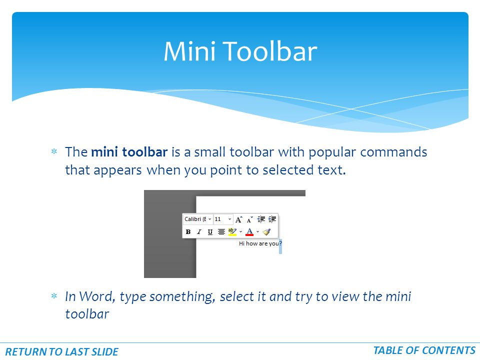  The mini toolbar is a small toolbar with popular commands that appears when you point to selected text.
