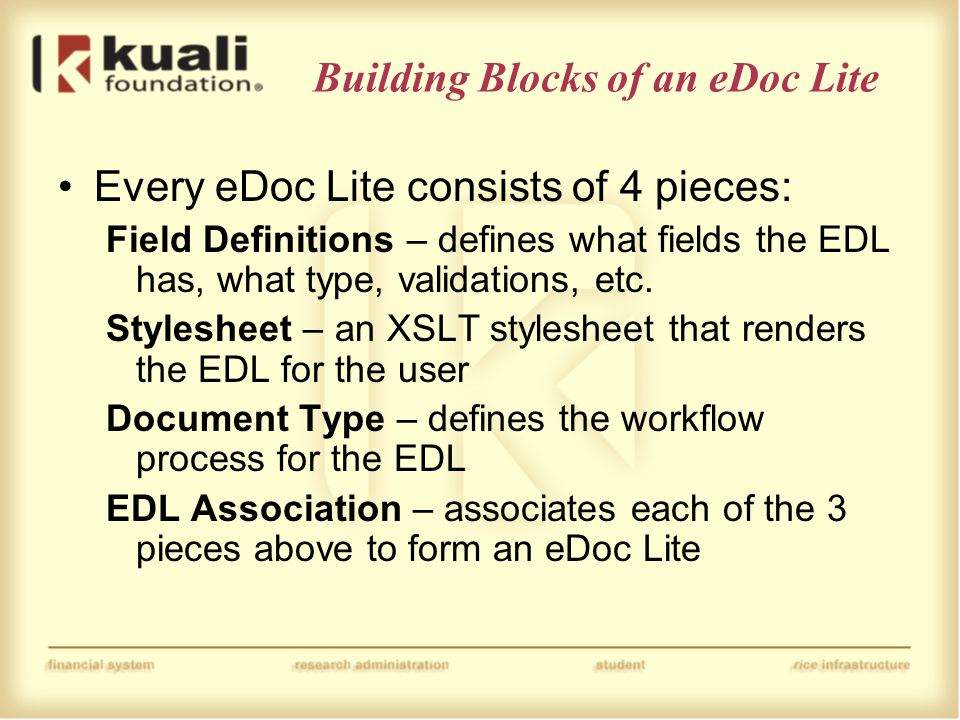 Building Blocks of an eDoc Lite Every eDoc Lite consists of 4 pieces: Field Definitions – defines what fields the EDL has, what type, validations, etc.