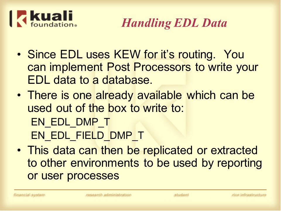 Handling EDL Data Since EDL uses KEW for it's routing.