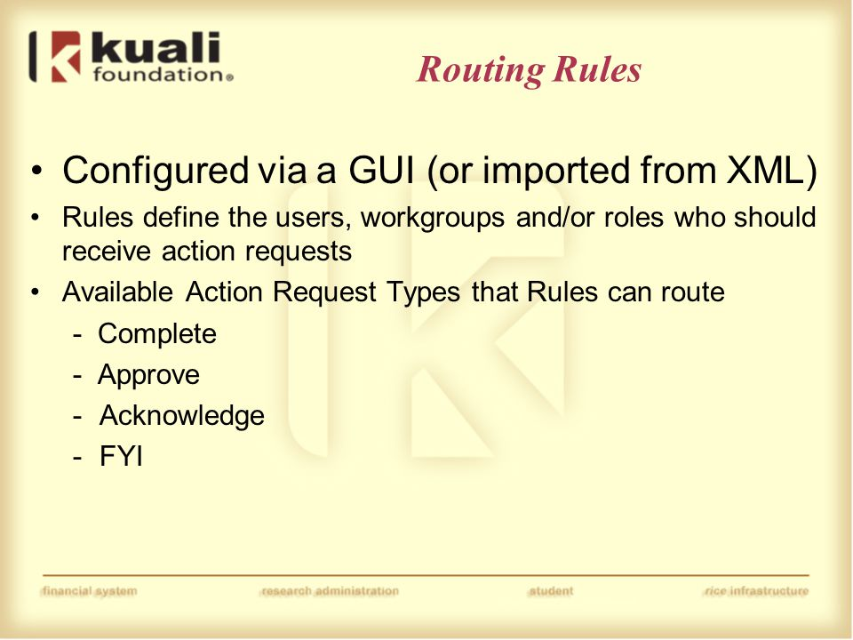 Routing Rules Configured via a GUI (or imported from XML) Rules define the users, workgroups and/or roles who should receive action requests Available Action Request Types that Rules can route - Complete - Approve -Acknowledge -FYI