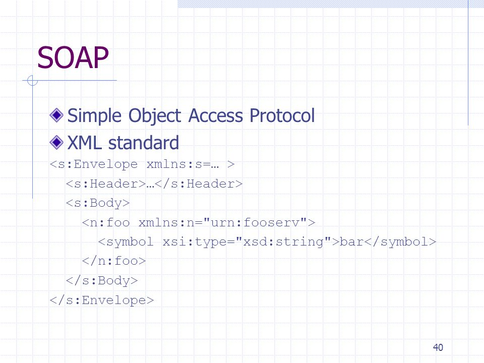 40 SOAP Simple Object Access Protocol XML standard … bar