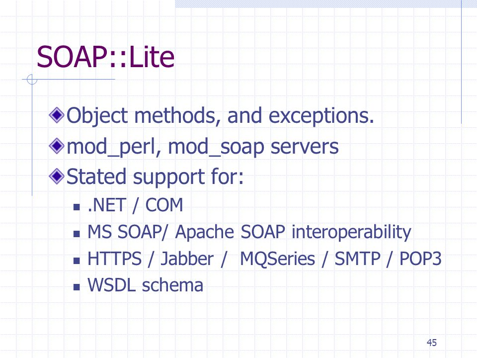45 SOAP::Lite Object methods, and exceptions.