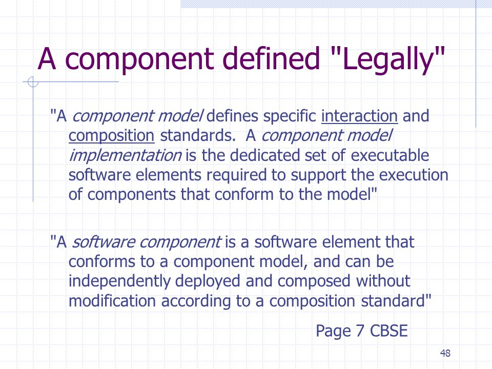 48 A component defined Legally A component model defines specific interaction and composition standards.