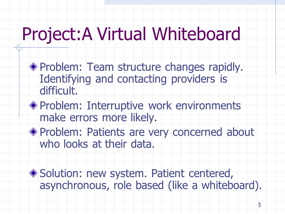 5 Project:A Virtual Whiteboard Problem: Team structure changes rapidly.