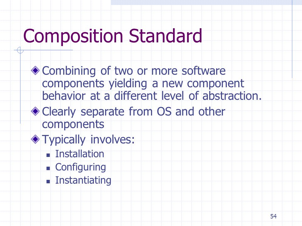 54 Composition Standard Combining of two or more software components yielding a new component behavior at a different level of abstraction.