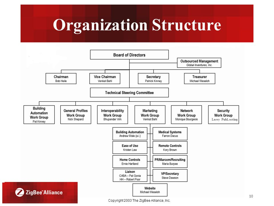 Month Year Copyright 2003 The ZigBee Alliance, Inc. 10 Organization Structure Larry Puhl, acting