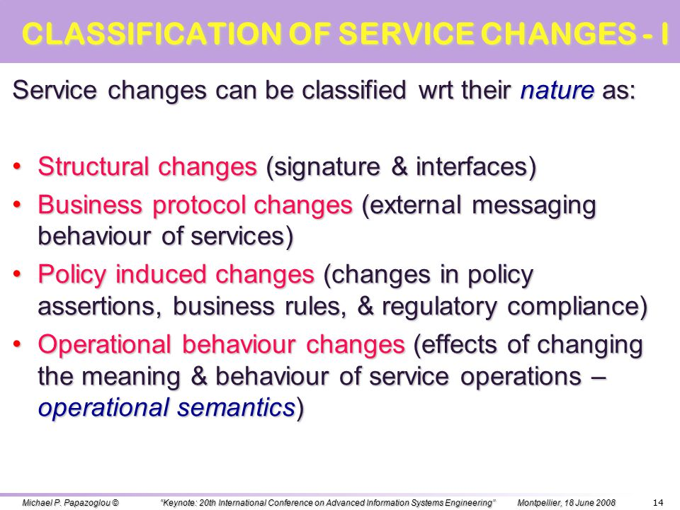 EVOLUTION OF SERVICES: REQUIREMENTS Routine process changes usually lead to possible reorganization and realignment of many businesses processes and i