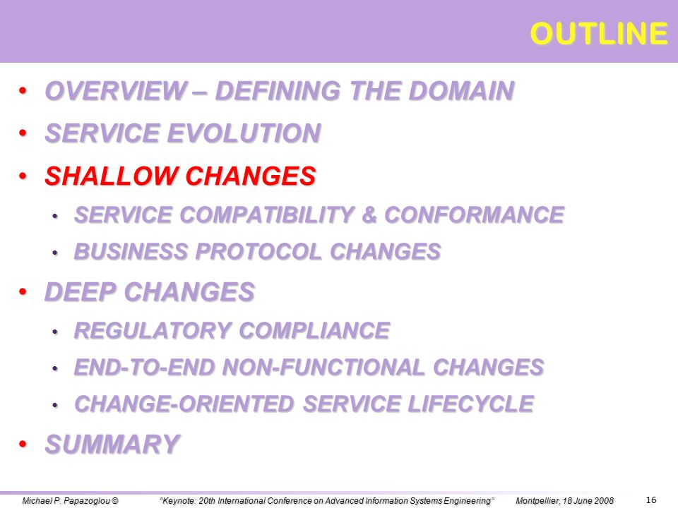CLASSIFICATION OF SERVICE CHANGES - II Service changes can be classified wrt their effects as: Shallow changes: small-scale incremental changes localized to a service or are restricted to the clients of that service.