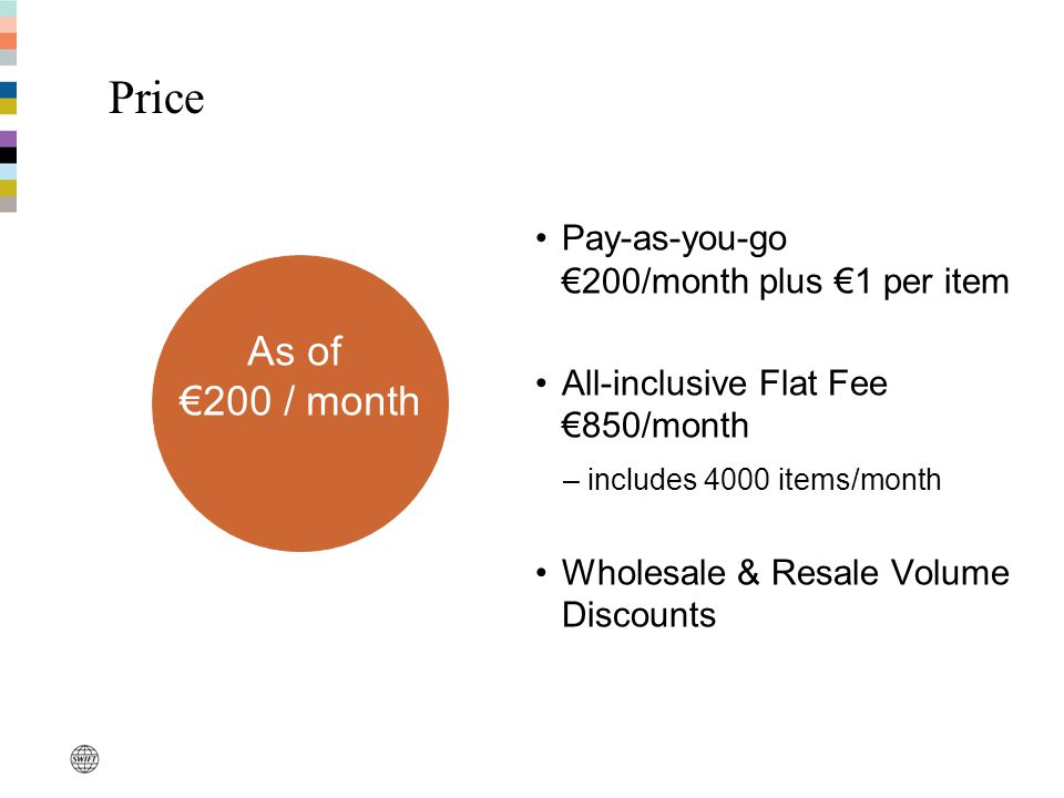 Price Pay-as-you-go €200/month plus €1 per item All-inclusive Flat Fee €850/month –includes 4000 items/month Wholesale & Resale Volume Discounts As of €200 / month