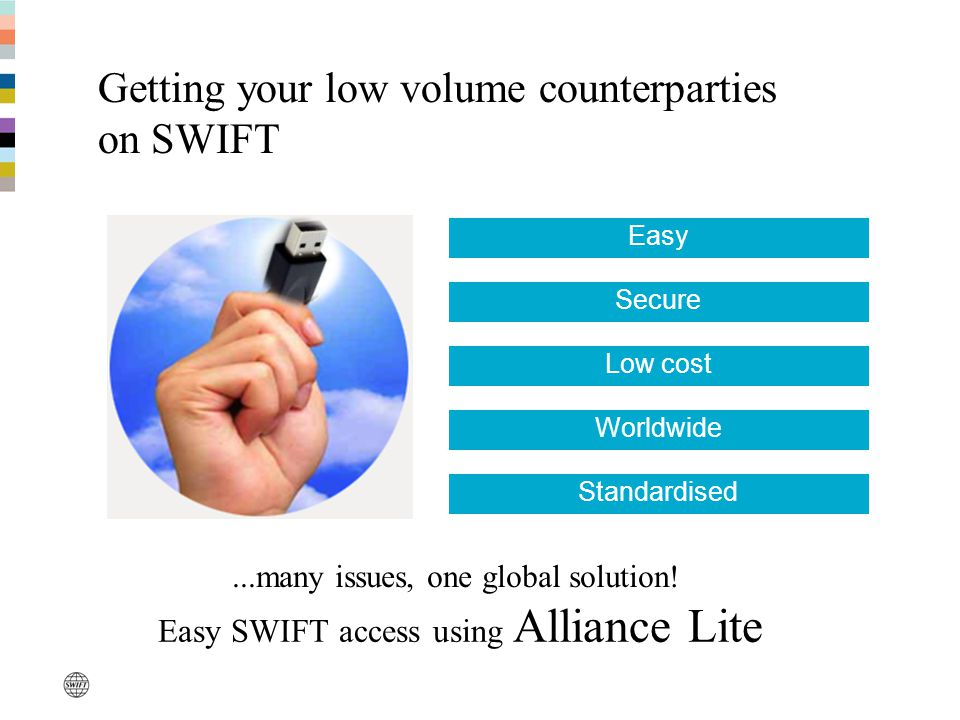 Secure Low cost Worldwide Standardised Easy Easy SWIFT access using Alliance Lite...many issues, one global solution.