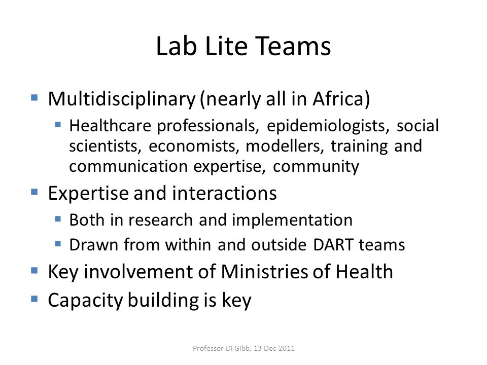 Lab Lite Teams  Multidisciplinary (nearly all in Africa)  Healthcare professionals, epidemiologists, social scientists, economists, modellers, training and communication expertise, community  Expertise and interactions  Both in research and implementation  Drawn from within and outside DART teams  Key involvement of Ministries of Health  Capacity building is key Professor Di Gibb, 13 Dec 2011