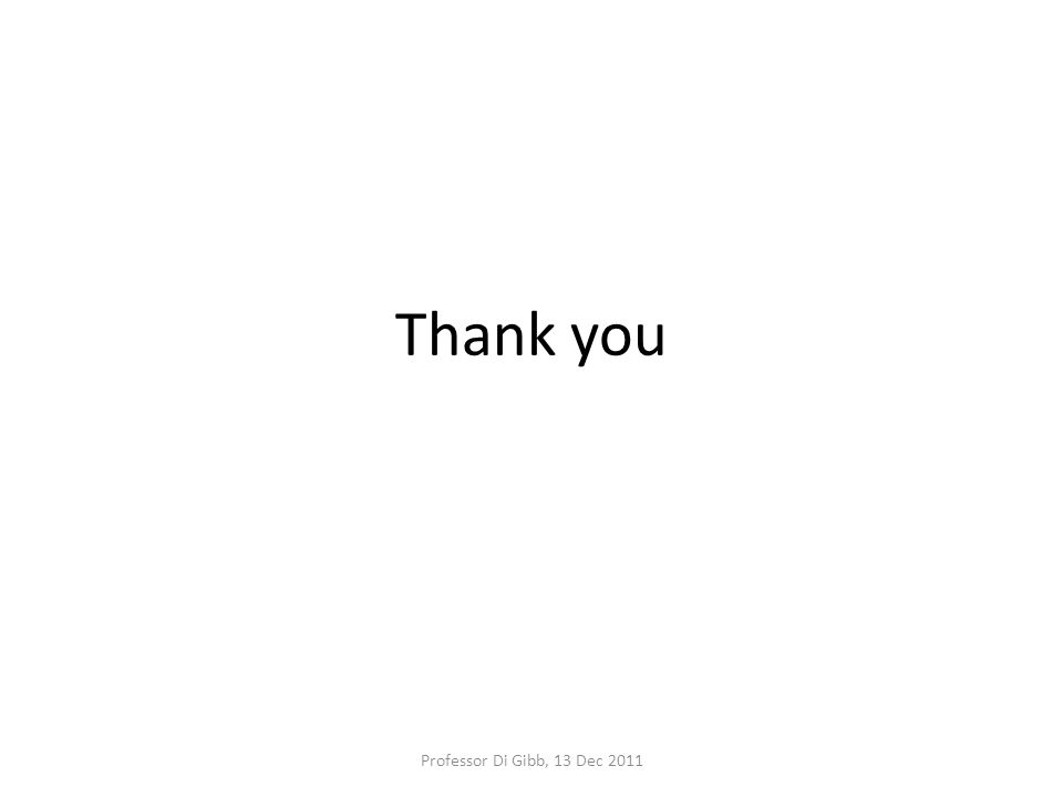 Thank you Professor Di Gibb, 13 Dec 2011