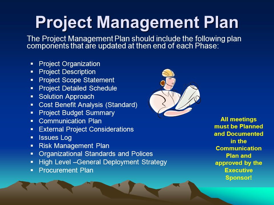 Project Management Plan The Project Management Plan should include the following plan components that are updated at then end of each Phase:  Project Organization  Project Description  Project Scope Statement  Project Detailed Schedule  Solution Approach  Cost Benefit Analysis (Standard)  Project Budget Summary  Communication Plan  External Project Considerations  Issues Log  Risk Management Plan  Organizational Standards and Polices  High Level –General Deployment Strategy  Procurement Plan All meetings must be Planned and Documented in the Communication Plan and approved by the Executive Sponsor!