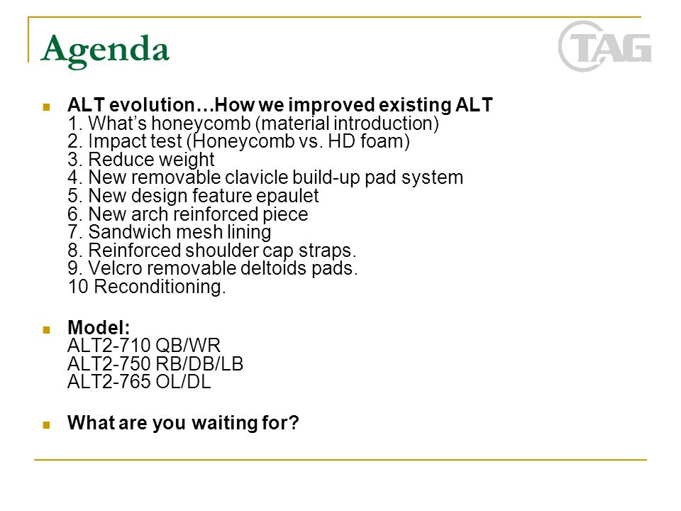 Agenda ALT evolution…How we improved existing ALT 1. What's honeycomb (material introduction) 2. Impact test (Honeycomb vs. HD foam) 3. Reduce weight