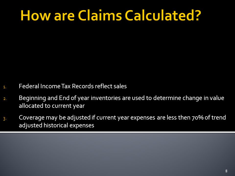 1. Federal Income Tax Records reflect sales 2.