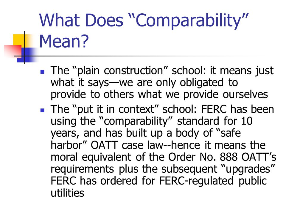 What Does Comparability Mean.