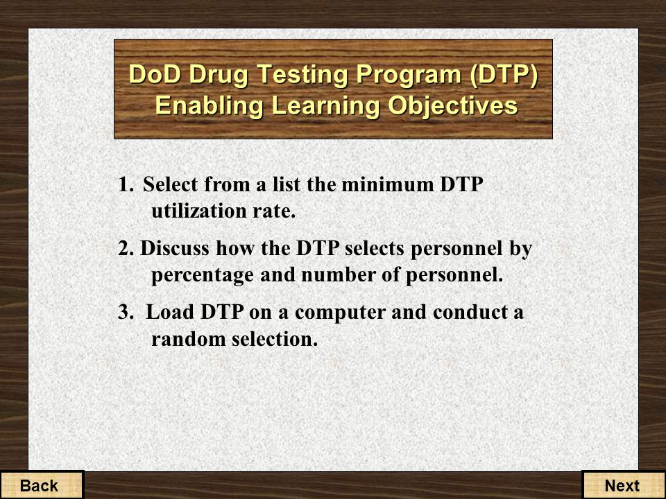 1. Select from a list the minimum DTP utilization rate.