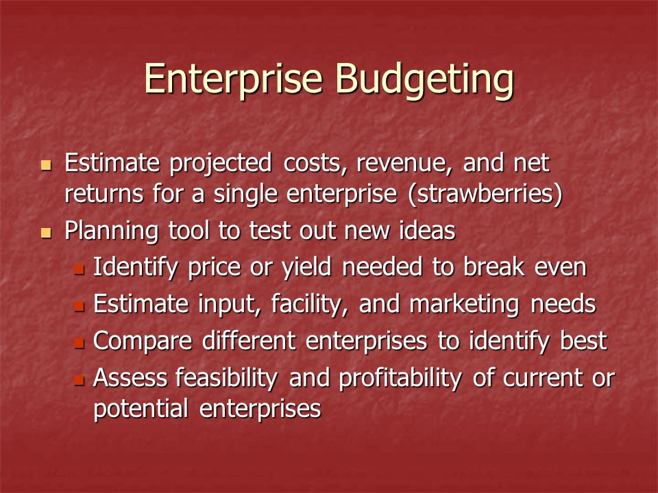 Enterprise Budgeting Estimate projected costs, revenue, and net returns for a single enterprise (strawberries) Estimate projected costs, revenue, and net returns for a single enterprise (strawberries) Planning tool to test out new ideas Planning tool to test out new ideas Identify price or yield needed to break even Identify price or yield needed to break even Estimate input, facility, and marketing needs Estimate input, facility, and marketing needs Compare different enterprises to identify best Compare different enterprises to identify best Assess feasibility and profitability of current or potential enterprises Assess feasibility and profitability of current or potential enterprises