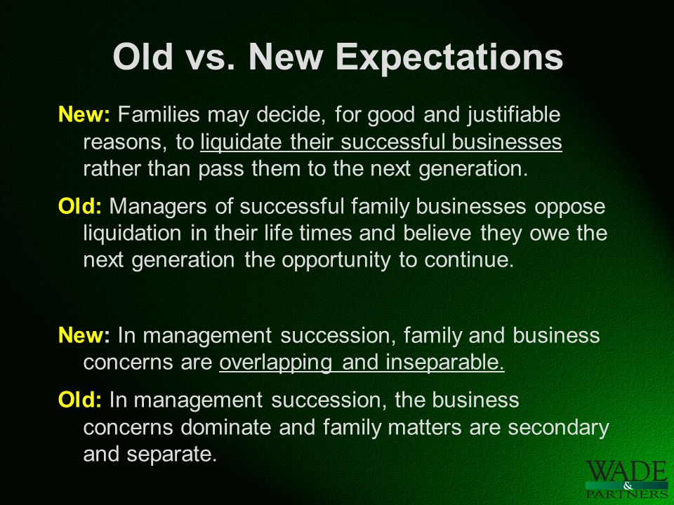 Old vs. New Expectations New: Families may decide, for good and justifiable reasons, to liquidate their successful businesses rather than pass them to