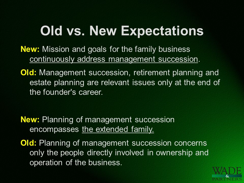 Old vs. New Expectations New: Mission and goals for the family business continuously address management succession. Old: Management succession, retire