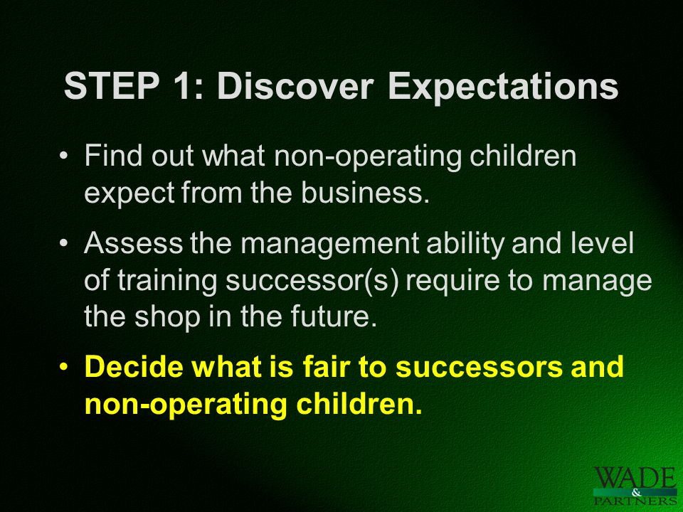 STEP 1: Discover Expectations Find out what non-operating children expect from the business.