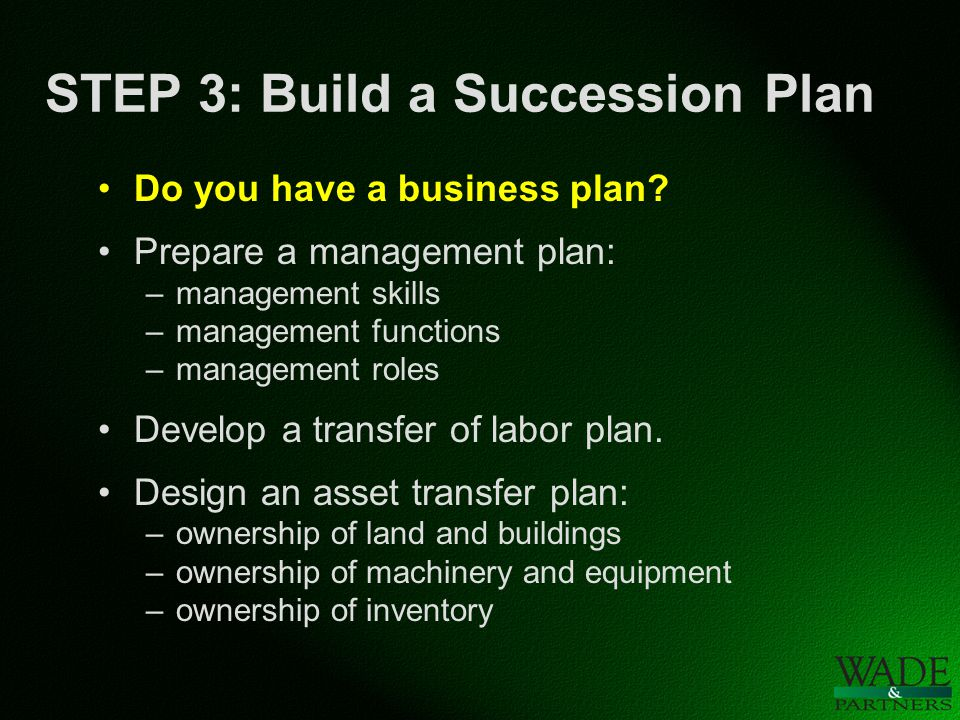 STEP 3: Build a Succession Plan Do you have a business plan.