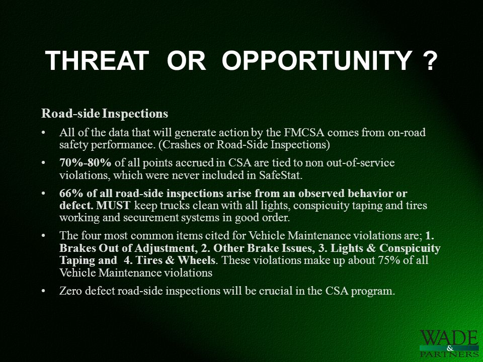 THREAT OR OPPORTUNITY .