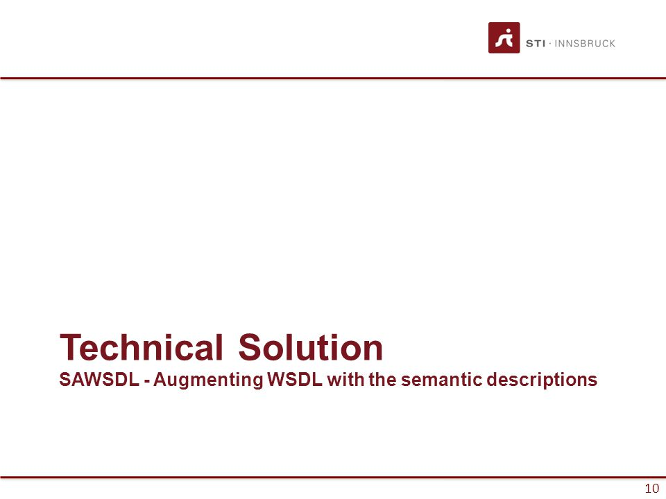 10 Technical Solution SAWSDL - Augmenting WSDL with the semantic descriptions
