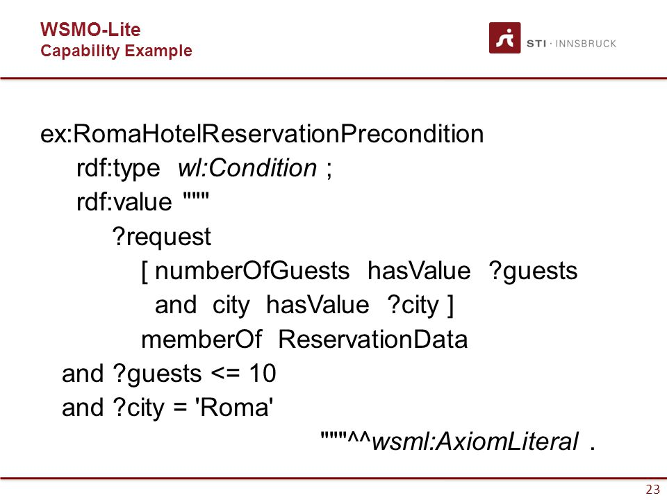 23 WSMO-Lite Capability Example ex:RomaHotelReservationPrecondition rdf:type wl:Condition ; rdf:value ?request [ numberOfGuests hasValue ?guests and city hasValue ?city ] memberOf ReservationData and ?guests <= 10 and ?city = Roma ^^wsml:AxiomLiteral.